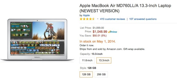Amazon is out of stock of the 13-inch MacBook Air until next week.