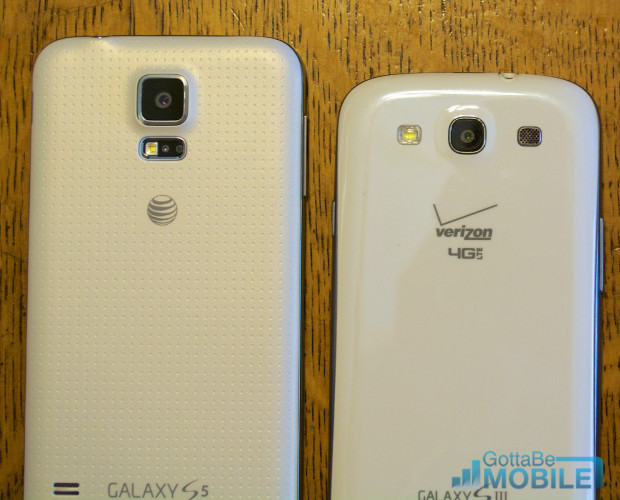 The Galaxy S5 features a nicer soft-touch plastic back than the Galaxy S3.