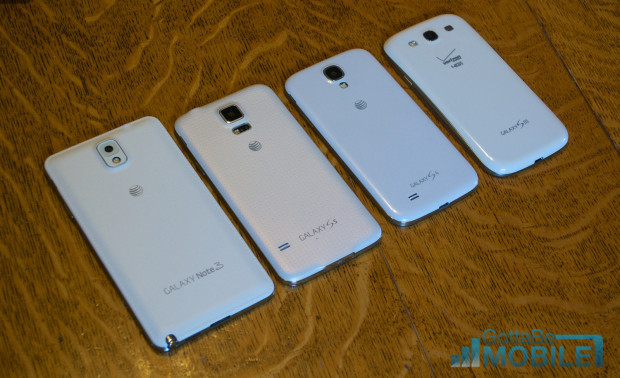 Samsung Galaxy S5 vs Galaxy S4 vs Galaxy S3 -  Size