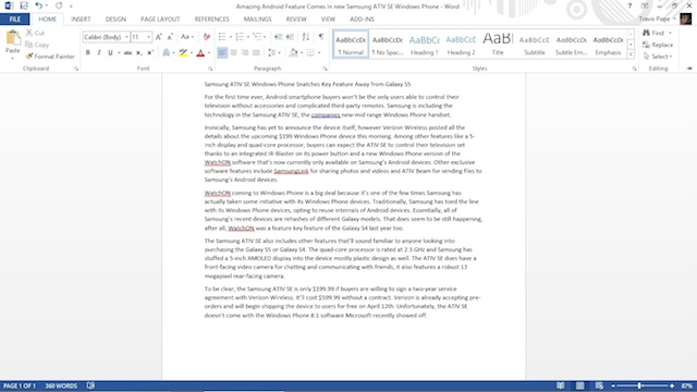 The Ribbon tabs in Word for Windows