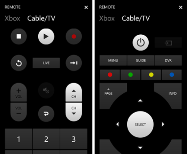The remote functionality for Xbox One SmartGlass.