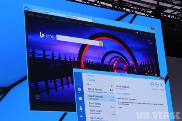 The Windows Store Mail app and the Desktop version of Internet Explorer running side by side from The Verge.