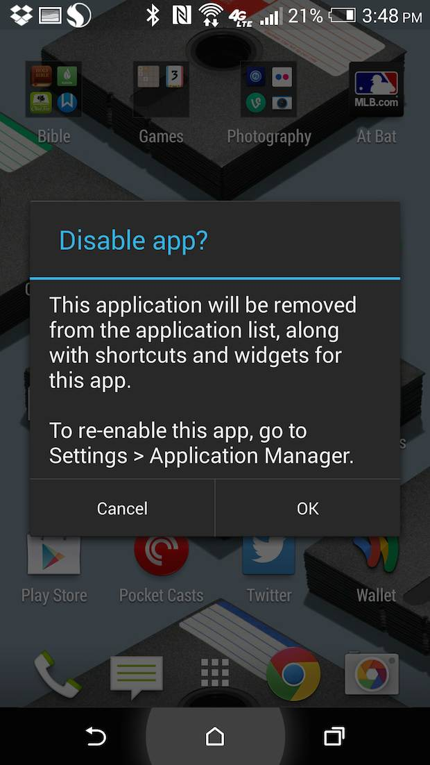 htc one m8 app disable warning