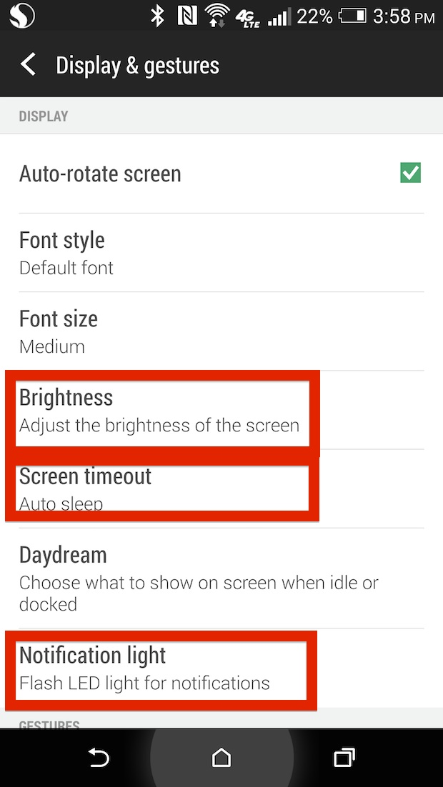 Display settings on htc one m8