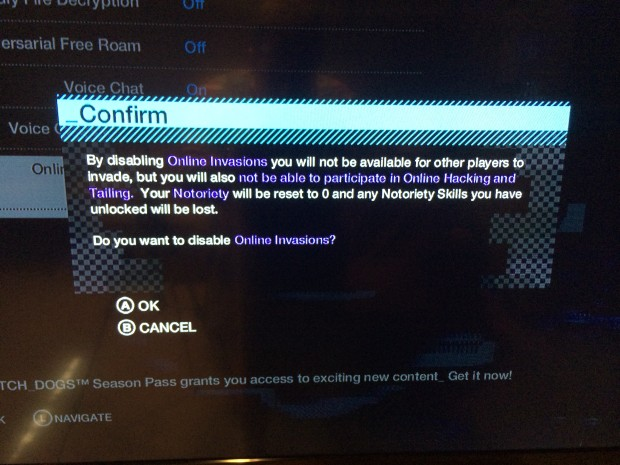 When you turn off Watch Dogs Online Invasions you give up some options.