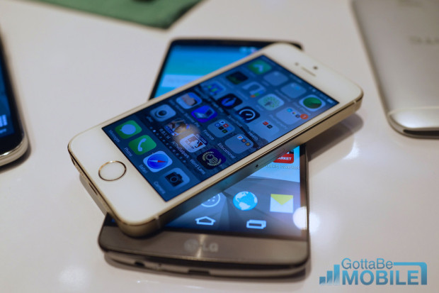 The LG G3 and the iPhone 5s compared.