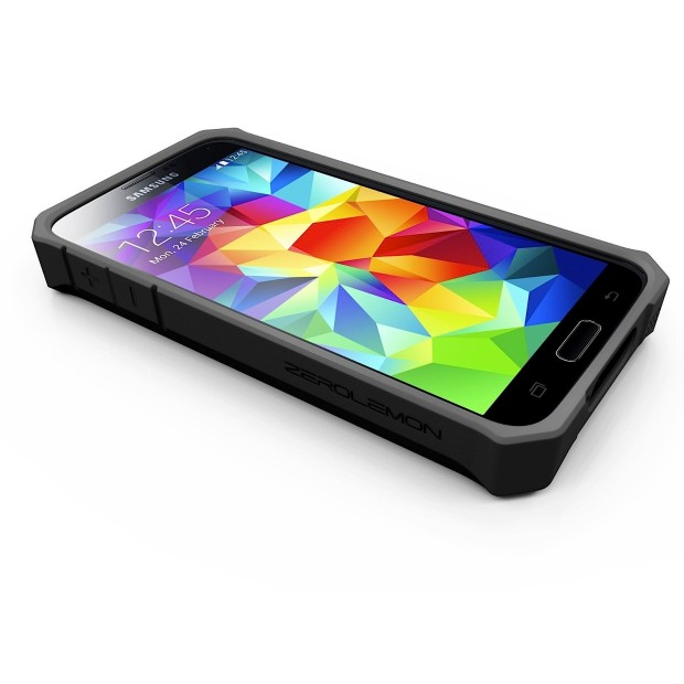 This black plastic case replaces the back of the Galaxy S5.