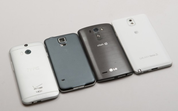LG G3 Review: The HTC One M8, Samsung Galaxy S5, LG G3 and Samsung Galaxy Note 3 (from left to right)