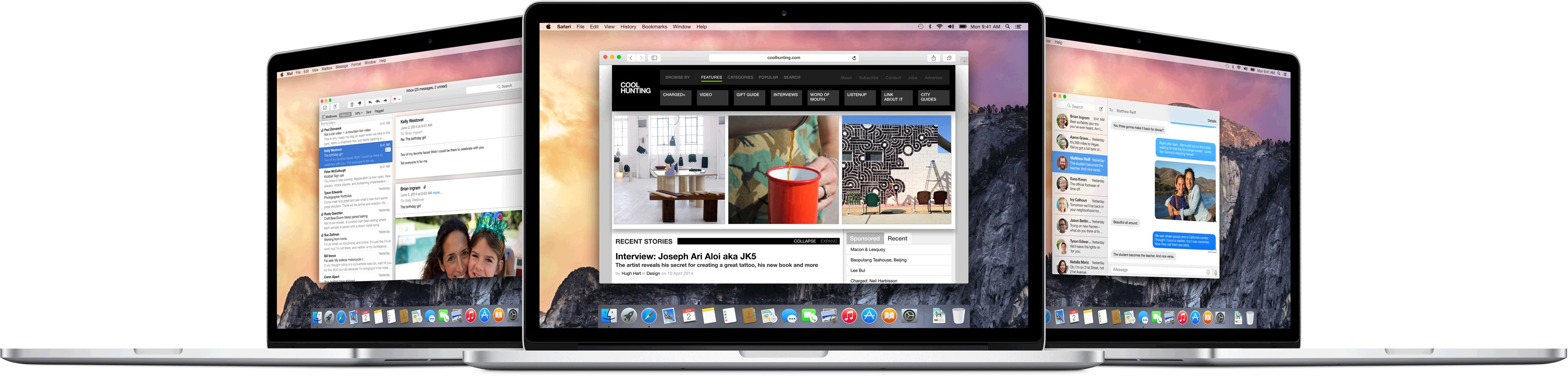 Check out the new look for OS X Yosemite and a collection of new features.