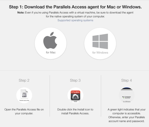 download page for parallels access