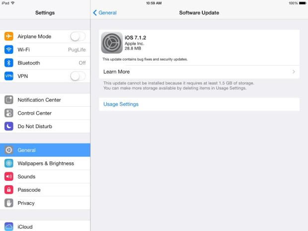 The iOS 7.1.2 update for iPad Air is out today.