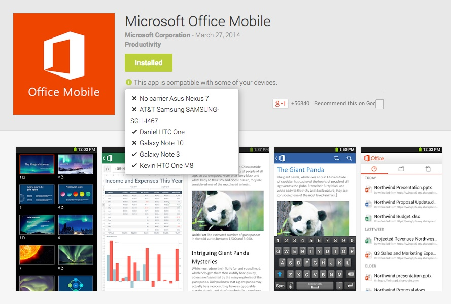 office mobile android compatibility