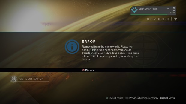 When you see a Destiny beta problem code like baboon it is already reported to Bungie.