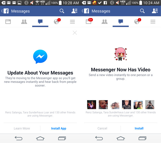 If you want to send Facebook messages you'll need the Facebook Messenger app.