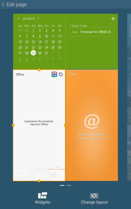 screenshot of PIM widget
