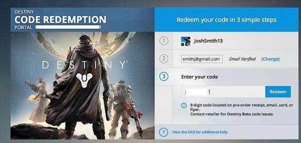 Enter your 9-digit Xbox 360 and Xbox One Destiny beta code.