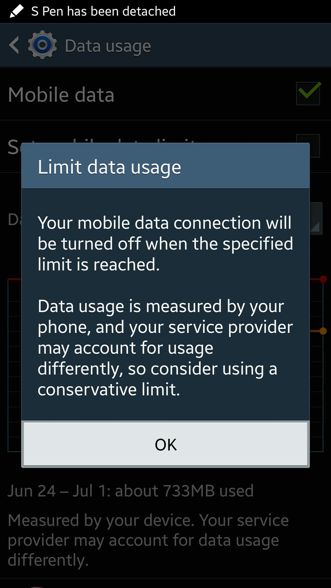 data usage warning on galaxy note 3