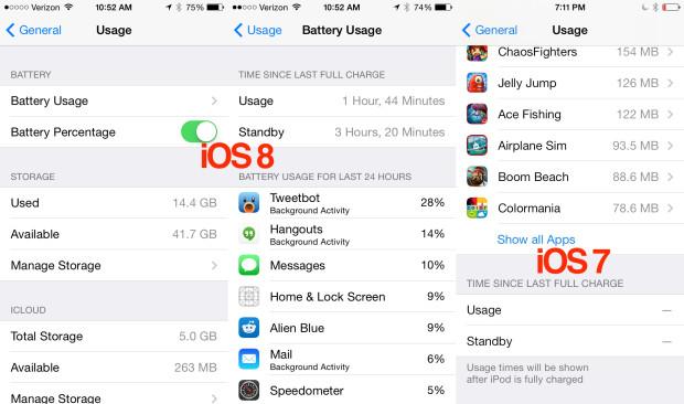iOS 8 vs iOS 7 battery life tools.