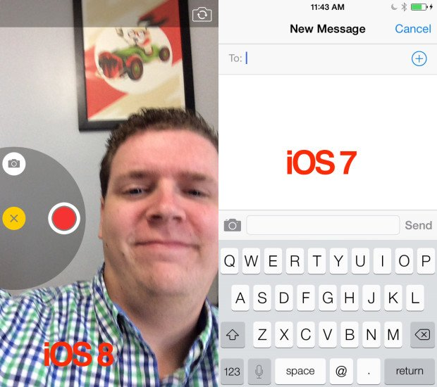 Comparing iOS 8 vs iOS 7 messaging apps is no contest. iOS 8 offers richer features.