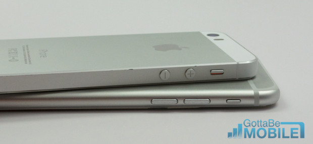 The iPhone 5s vs iPhone 6 comparison shows new volume buttons.