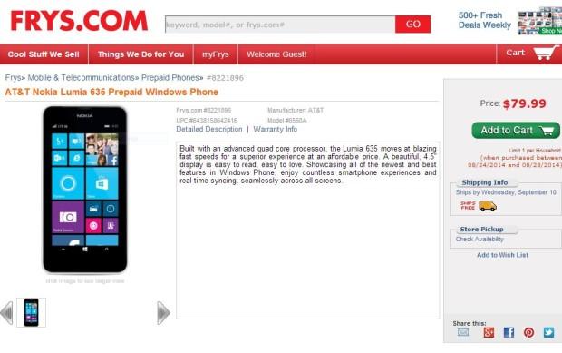 Frys Lumia 635 Deal