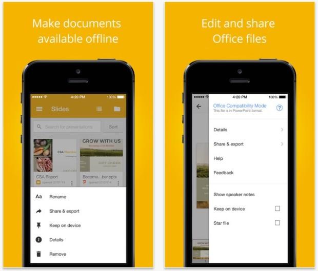 Google Slides app for iOS
