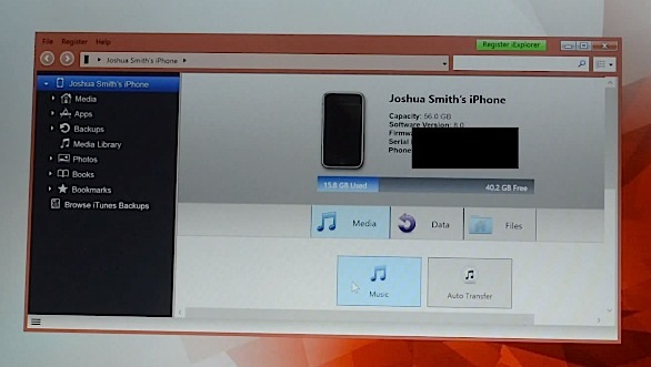 On the main screen chose to transfer music from iPhone to PC.