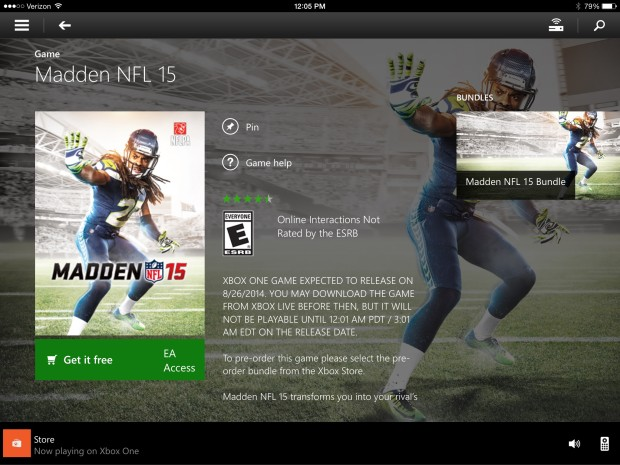 For $5 you can play the Madden 15 trial for six more hours, using a free Xbox Live Account.