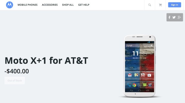 A leak shows a Moto X+1 price of $400 and AT&T as a carrier.