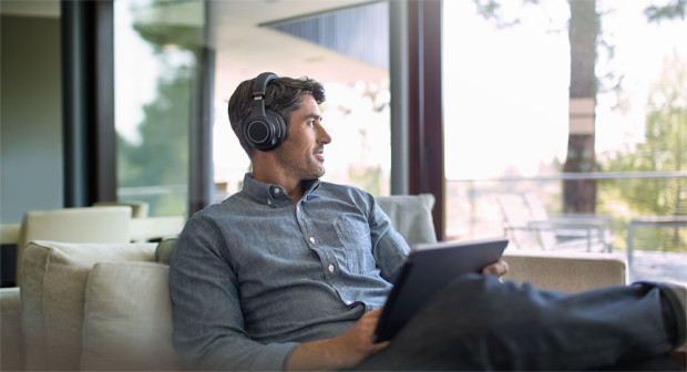These Plantronics Bluetooth Noise Canceling headphones connect to up to two devices.