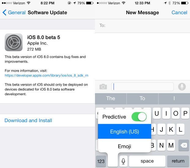 The iOS 8 beta 5 downloads reveal fine tuning of new features before the iOS 8 release date.