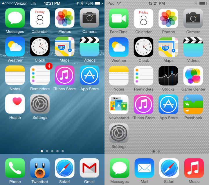 iOS 8 vs iOS 7 Walkthrough - Home Screen