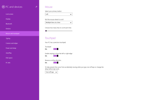 mouse and touchpad settings