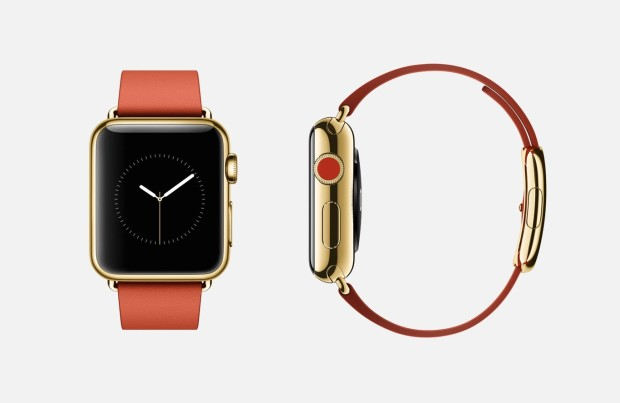 The high-end Apple Watch Edition features 18-karat gold and leather.