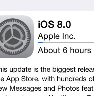 iOS 8 download times hit six hours.