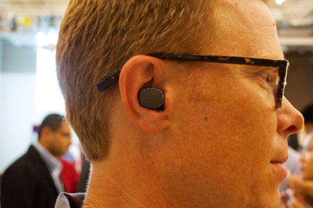 This is a very small headset that almost disappears when worn.