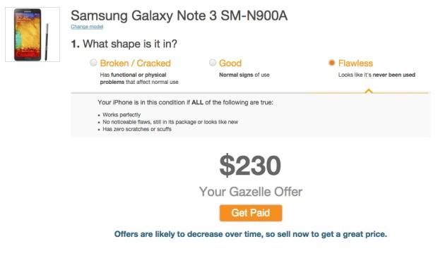 gazelle samsung galaxy note trade-in value