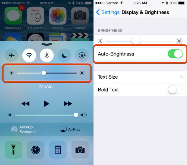 Use screen brightness the right way for good iOS 8 battery life.