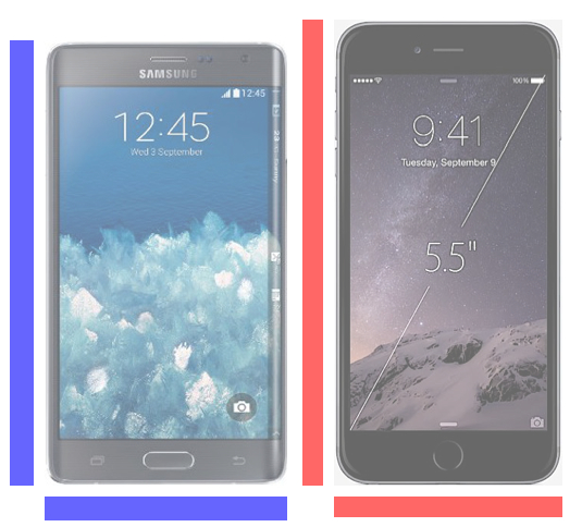 Galaxy Note Edge vs. iPhone 6 Plus size.