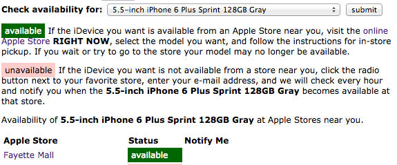 Use this tool to find an iPhone 6 Plus in stock, searching 20 stores at once.