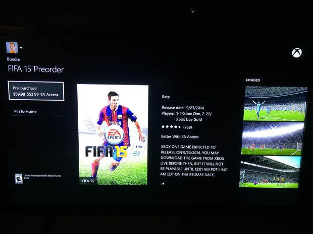 Choose to pre-purchase FIFA 15.