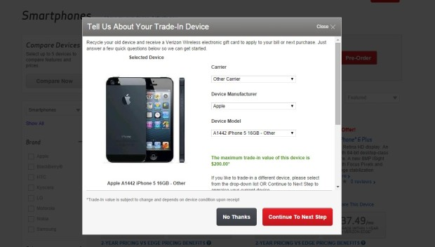 verizon trade-in deal for iPhone 6