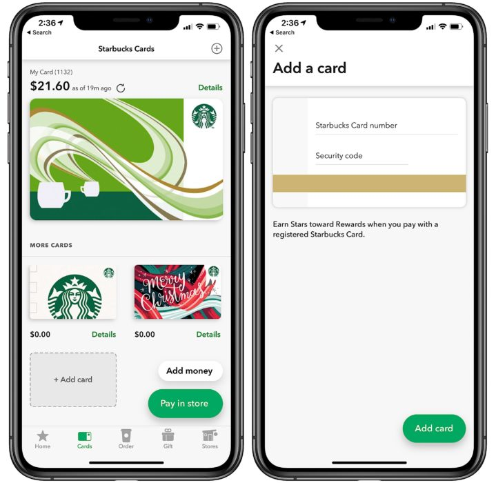 Tap to add a gift card to the Starbucks app.