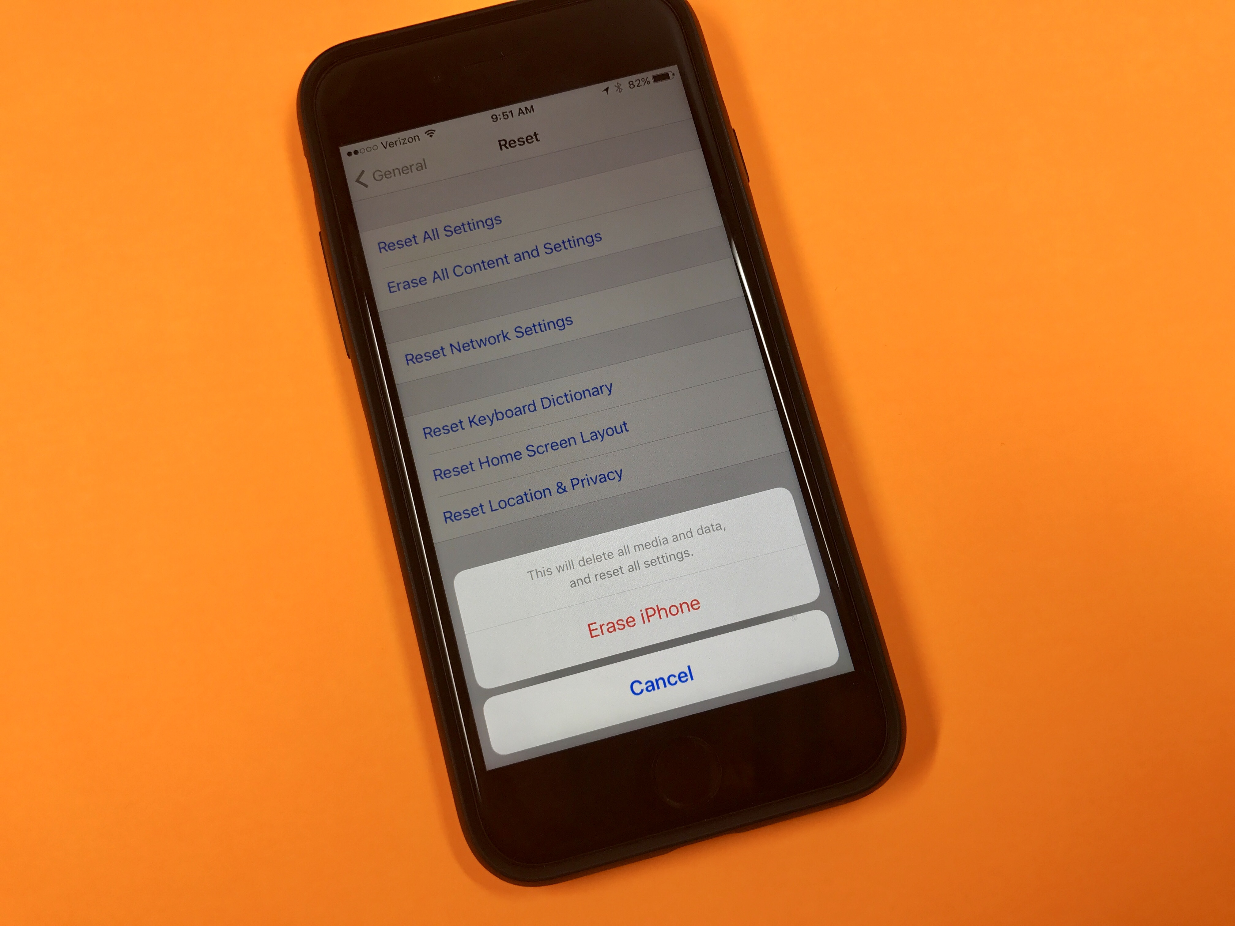How to reset an iPhone without iTunes.