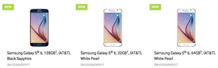 There are three Galaxy S6 storage options.