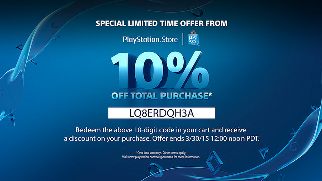 Save 10% on any PS4 games including Battlefield Hardline and Bloodborne.