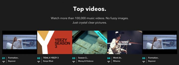Videos remain a major pull for TIDAL.