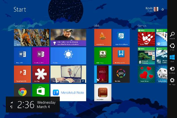 charms bar on start screen