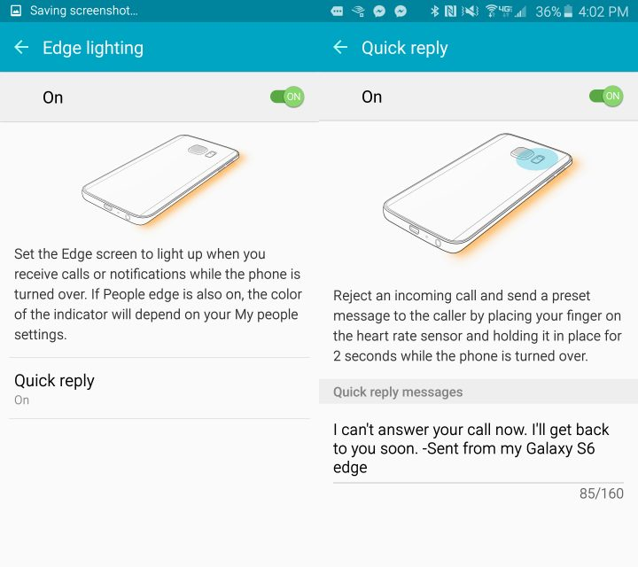 Customize the Galaxy S6 Edge quick reply settings.