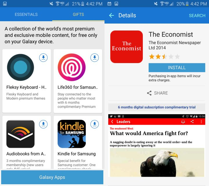 Get free apps and subscriptions with your Galaxy S6.